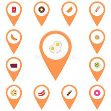 icons for the map icon flat colored vector food icon eggs stock