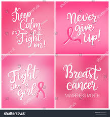 breast cancer awareness month cards set stock vector 489972547