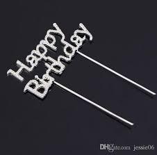 Birthday Cake Toppers Shiny Rhinestone Happy Birthday Cake Topper Plug Letters Crystal