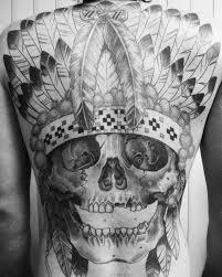 indian headdress tattoo on ribs skull in an indian headdress tattoo on whole back tattooimages biz