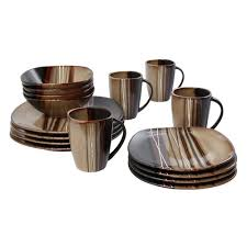 hometrends 16 bazaar brown dinnerware set walmart canada