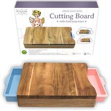 amazon com cutting board organic acacia wood chopping board amazon com cutting board organic acacia wood chopping board with 2 pink blue meal prep containers naturally antimicrobial for meat vegetables bread