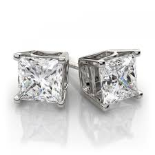 diamond earrings for sale ctw 4 prong princess cut diamond stud earrings platinum