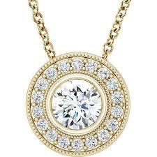 photo necklace pendants images Round moissanite bezel set diamond milgrain halo pendant and jpg