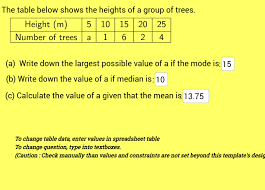 mean median mode tabulated data with visual mode example 2 geogebra