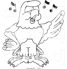 outline singing bird cartoon clipart collection