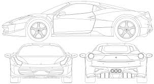 ferrari front drawing ferrari 458 italia blueprint download free blueprint for 3d modeling