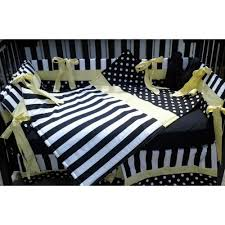Yellow Crib Bedding Set White Polka Dot Stripe W Yellow Crib Bedding Set