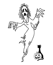 scary witch came out from halloween pumpkin coloring page