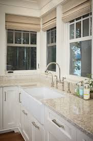 Durable White Granite Countertop With Farmhouse Sink Kitchen - Kitchen counter with sink