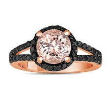 black and pink engagement rings pink morganite and black diamonds engagement ring 2 04 carat halo