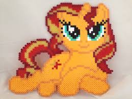 my little pony sunset shimmer laying down perler beads by