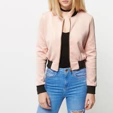 light bomber jacket womens the lowest price river island women topsm k64i6447 light pink