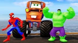 mater monster truck videos tow mater monster truck spiderman u0026 hulk nursery rhymes songs