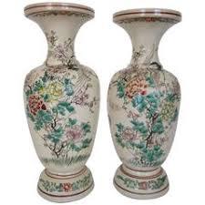 Porcelain Flower Vases Pair Of French Aesthetic Porcelain Vases With Bird And Flower
