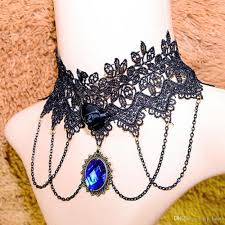 girl collar necklace images 2018 big blue stone sexy choker necklace black lace necklace women jpg