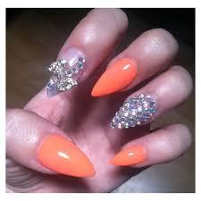 claw nails prt 2 clawnails neon orange gems claws bow