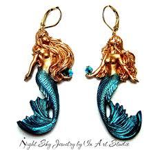 mermaid earrings mermaid earrings in gold and blue mermaid jewelry