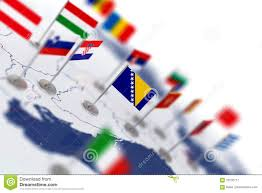 Europe Map With Countries by Bosnia Flag In The Focus Europe Map With Countries Flags Stock