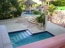 creative schemes for small pool designs with waterfall and