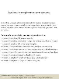 Sample Engineering Resume by Top 8 Marine Engineer Resume Samples 1 638 Jpg Cb U003d1428674486