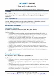 Automotive Resume Samples by Cost Analyst Resume Samples Qwikresume