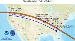 State Capitals Map Total Or Partial Eclipse U S State Capitals In Path Of Totality