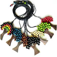 leather necklace string images Wooden necklaces pendant palm trees leather string 50 pieces jpg