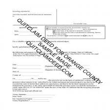orange county quit claim deed form example for orange county