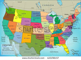 map of states and capitals in usa vector map usa states their capitals stock vector 346988420