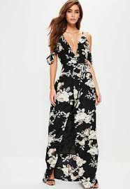 cold shoulder dress black floral cold shoulder maxi dress missguided