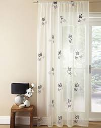 Embroidered Curtain Panels Voile Slot Top Panel In Cream With Black Embroidered Butterfly Design