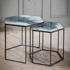 Hexagon Side Table Cobalt Mist Organic Hexagon Side Table Set By Notre Monde Lekker