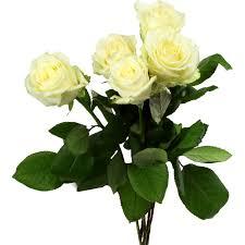 bouquet de fleurs roses blanches fleurs rose blanche 60 cm le bouquet de 5 fleurs vos courses