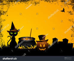 cat halloween background images halloween background witchs cat cauldron pumpkin stock vector