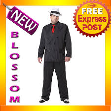 Mens Gangster Halloween Costume C631 Mens Mob Boss 1920s Gangster Pinstripes Halloween Fancy Dress