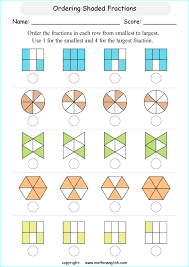 order fractions in shapes math fraction worksheet with fraction