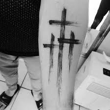 guys inner forearm simple christian paint brush stroke cross