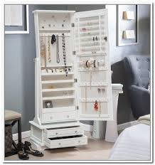 Large White Jewelry Armoire Elegant Dressing Room With Full Length Mirror Jewelry Storage