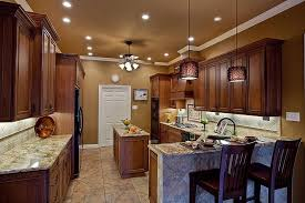 recessed lighting ideas for kitchen wall color with finished wooden cabinet using marble
