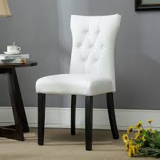 belleze dining faux leather tufted accent side chairs set of 2