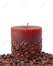 coffee bean candle aroma candle decorated with coffee beans isolated on white stock