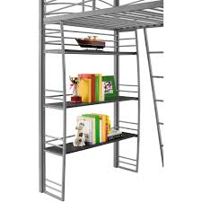 dhp studio twin loft bed with integrated desk and shelves silver