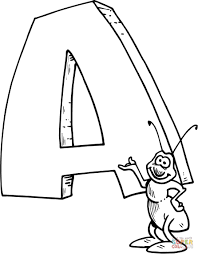 a coloring page letter a is for ant coloring page free printable