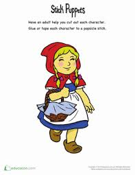 red riding hood stick puppets worksheet education