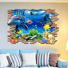 home decor 3d stickers 3d sea world wall stickers submarine world decorative wall decal