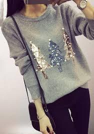 grey sparkly sequin christmas tree print beading cute slim