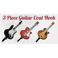 Decorative Coat Hook 3 Piece Guitar Shaped Decorative Coat Hook Pack