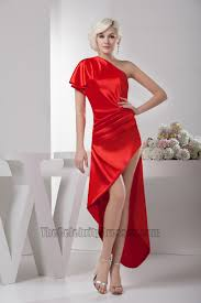 asymmetric red one shoulder prom gown evening party dresses