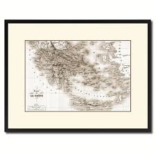 Gifts Home Decor Greece Vintage Sepia Map Canvas Print Picture Frame Gifts Home